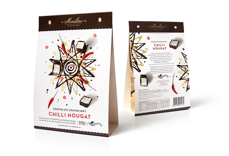 Mondo Nougat. Beautifully illustrated with artistic food designs: chocolate coated soft Chilli Nougat package. Design by Dessein, Australia.