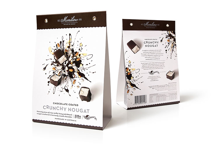 Mondo Nougat. Beautifully illustrated with artistic food designs: Chocolate coated Crunchy Nougat package. Design by Dessein, Australia.